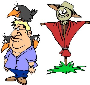 Farmer with scarecrow and crow